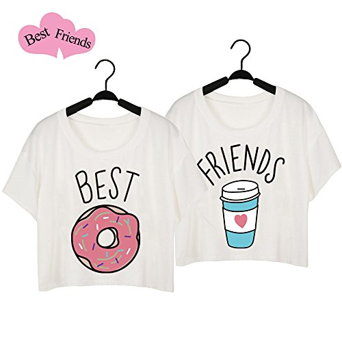 best friends t shirt m dchen 2 st cke sommer freund shirt f r zwei damen wei oberteil s kurz. Black Bedroom Furniture Sets. Home Design Ideas