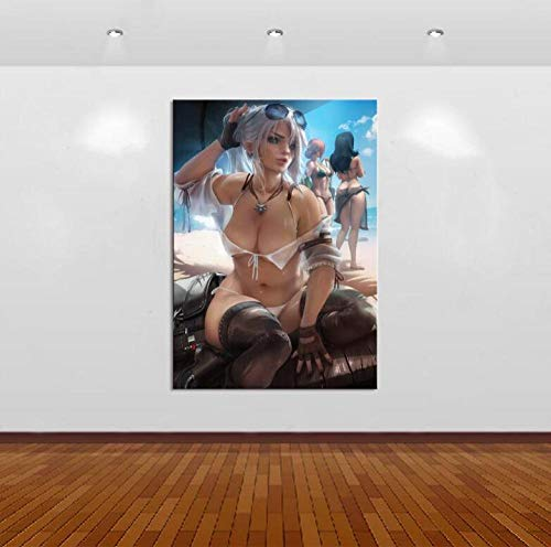 CYNBB Impresiones sobre Lienzo,1 Piezas Witcher 3 Ciri Game Anime Sexy Girl Poster Print Picture,Wall Art Decoración del Hogar Pintura (35X50Cm) con Marcos