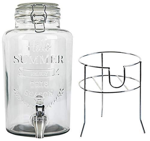 Monster24 Hochwertiger Getränkespender 3 Liter aus Glas mit Ständer Zapfhahn Prägung/Schriftzug Glasdeckel Wasserspender Limonadenspender Saftspender Bowle Dispenser Schorle Erfrischung