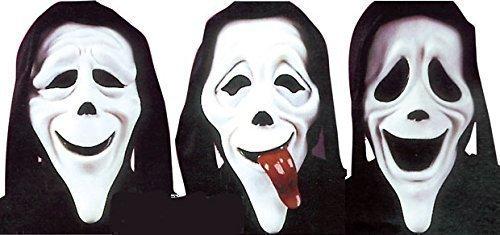 3 Packung Herren Damen Offiziell unheimlich Film Halloween Scream Gesichtsmasken Kostüm Verkleidung - Smiley Scary Halloween