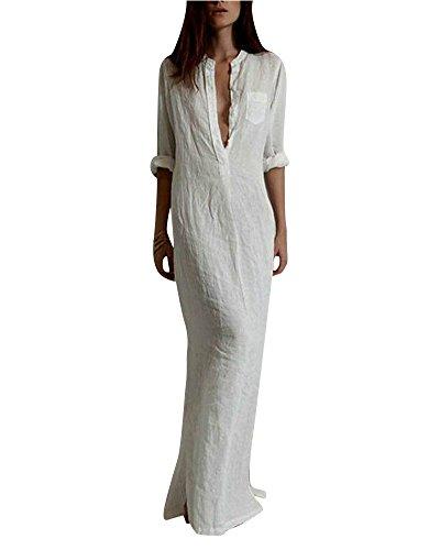 SaiDeng Robe Décontractée Manches Longues Col En V Solide Longue Robe Maxi Des Femmes Blanc