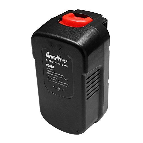 MaximalPower Power Tool Ersatz Akku für Black & Decker 18V 244760-00, A1718, A18, HPB18, HPB18-OPE und Firestorm A18, FS180BX, FS18BX, FS18FL, FSB18 Hpb18 Ope Power Tools