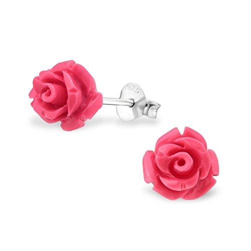 Laimons Damen-Ohrstecker Damenschmuck Rose Blume Dunkel Pink Sterling Silber 925