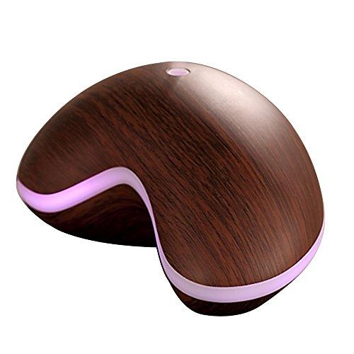 Gosear 150ml Humidificador Aromaterapia Ultrasónico con LED Lámpara para SPA Yoga Casa y Oficina Oscuro Grano de Madera