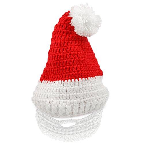 Kostüm Miss Kinder Santa (Nikolaus Weihnachtsmütze Strickmütze mit abnehmbarem Bart für Kinder)