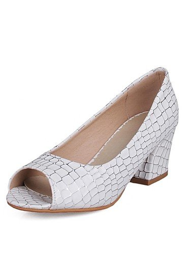 GS~LY Damen-High Heels-Lässig-PU-Blockabsatz-Plateau-Schwarz / Blau / Rosa / Weiß white-us9 / eu40 / uk7 / cn41