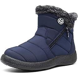 Gaatpot Zapatos Invierno Mujer Botas de Nieve Forradas Zapatillas Botines Planas con Cremallera Azul(Navy) 38 EU/39 CN