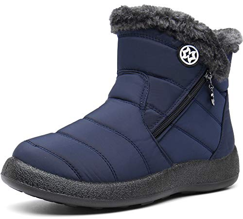 Gaatpot Zapatos Invierno Mujer Botas de Nieve Forradas Zapatillas Botines Planas con Cremallera AzulNavy...