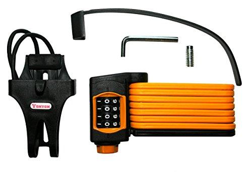van Hoogen Fahrrad Falt-Schloss mit Zahlen-Code + Halterung, Sicherheitslevel 10 | Orange