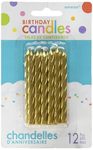 Amscan International-170435candle-cake spiralcandle gran espiral dorado