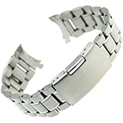 Pixnor 22mm Curved End Solid Stainless Steel Bracelet Watch Band Strap (Silver)