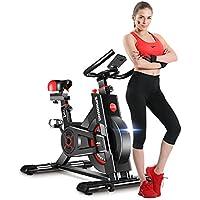 Dripex Vélo d'Appartement Cardio Vélo Spinning Appareil Fitness Sport Abdominal Dos Bras, Anti-Résistance Pouls à la Main+Capteur Cardiaque+LCD écran.