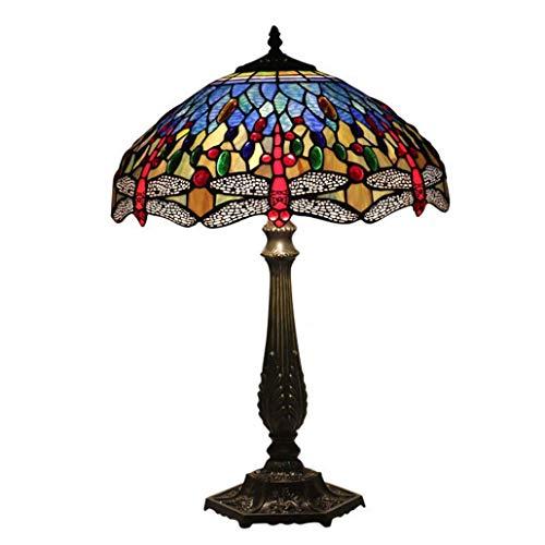16-Zoll-Tischlampe Tiffany Styley Design Farbe Glas Schreibtischleuchte Schlafzimmer Nachttischleuchte Salon Art Tischleuchte, E27, Max60W * 2, BOSS LV, Online-Schalter