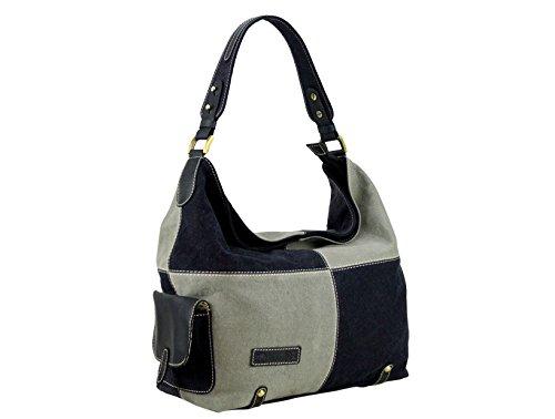 Sunsa donna Canvas Borsa a tracolla borsa a mano 32,5x 26x 5cm, beige/marrone (multicolore) - 51521 nero/grigio