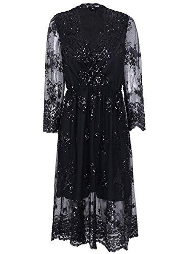 Missy Chilli Damen Knielangkleid Elegant Langarm V-Ausschnitt Pailletten Festlich Kleid Partykleid Abendkleid Schwarz