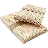 100 Palitos de madera para helados, 15x1,6 cm, palos de polo de madera natural, Palitos de helados, Palitos de madera para manualidades DIY hecho en casa