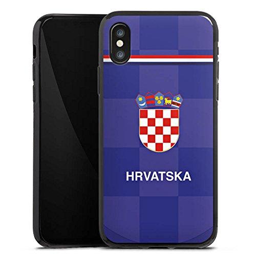 Apple iPhone X Silikon Hülle Case Schutzhülle Fußball Trikot Kroatien Silikon Case schwarz
