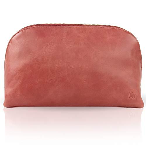 BULLAZO Cosmo, Edler Damen Kulturbeutel Kosmetiktasche aus Leder, Korallen-rot -