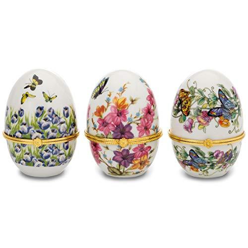H.Bauer jun. buntes Porzellan Eierbecher Set vergoldet Verschiedene Muster Höhe 8 cm 6-teilig