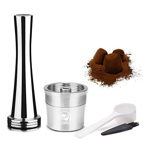 Hamkaw Wiederverwendbare Kapseln, nachfüllbarer Kaffee-Filter, Edelstahl, für ILLY Kaffeemaschine mit Löffel, Rouge Stainless Steel-Silver