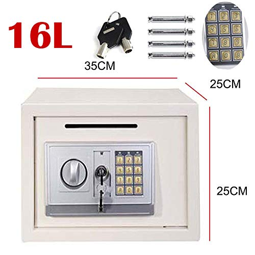 Caja de Dinero con Llave (Llaves de anulación) Digital Pin Caja Fuerte para la Oficina en casa Empresa (35 x 25 x 25 cm), Espacio Grande Blanco