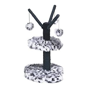 Tramps Pet Cat & Kitten Scratch Post Luxury Faux Fur Toy Activity Centre - Black / White