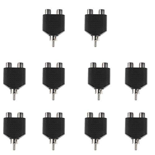 MagiDeal 10 Stück RCA Y-Splitter Adapter 1x RCA-Stecker zu 2x RCA-Buchse Audio Video Konverter Verteiler - vergoldeter Kontakt 1 In 2 Out Cinch
