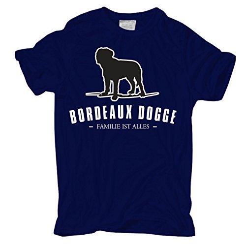 Männer und Herren T-Shirt Bordeaux Dogge - Familie ist alles körperbetont dunkelblau