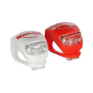 Snugg High Quality Set of 2 LED Super Bright Bike Lights: 1 Red (Rear Light), 1 White (Front Light) for Safety - Fits all sized Handlebars and Installs in Seconds! 3 Settings - Fast Flash, Slow Flash and Constant Light