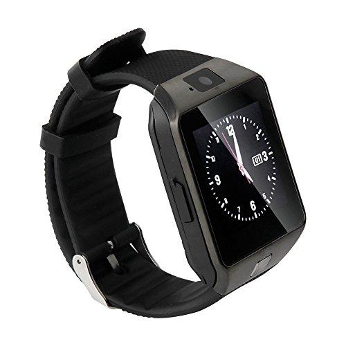 Bluetooth Smartwatch Armbanduhr Handy-Uhr Smart Watch Uhr mit Kamera Schrittzähler Unterstützungs TF / SIM Karte für iPhone Samsung HTC LG Android Phone Smartphone (Schwarz)