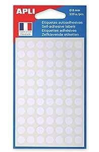 AGIPA Sachet de 539 Pastilles de signalisation rondes Gommettes 8 mm Blanc
