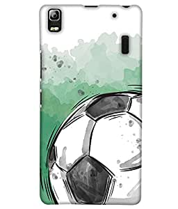 PrintHaat Designer Back Case Cover for Lenovo A7000 :: Lenovo A7000 Plus :: Lenovo K3 Note (football lover :: soccer player :: football in the ground :: football in the net :: football illusion :: in blue, black, green, white and brown)