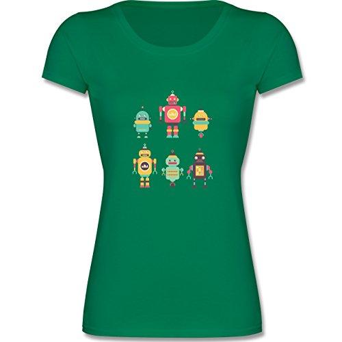 Shirtracer Up to Date Kind - Bunte Roboter - 140 (9-11 Jahre) - Grün - F288K - Mädchen T-Shirt (Nerds Mädchen T-shirt)