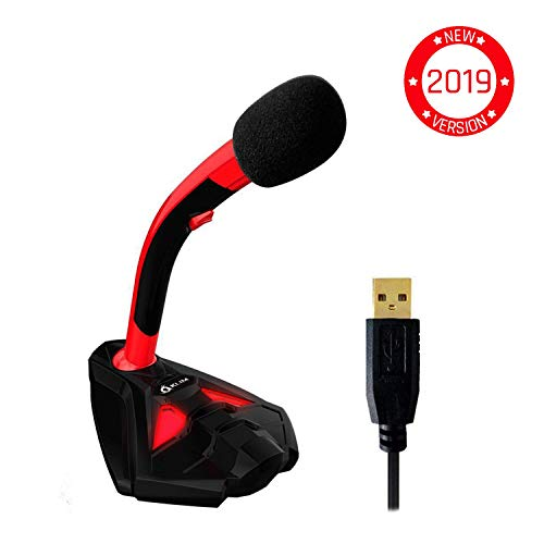 KLIM Voice Desktop USB Mikrofonstand für Laptop Computer - Gaming Mic - Mikrofon PC PS4 Rot [ Neue 2019 Version ]