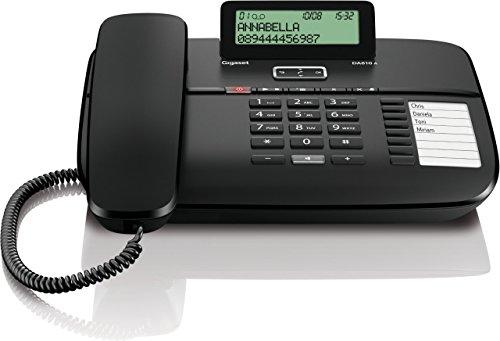 Gigaset DA810A Telefon - Schnurgebundes Telefon/Schnurtelefon - Anrufbeantworter/Display - Freisprechen - Stummschaltung - Mute/Analog Telefon - schwarz (Desktop Security Kabel)