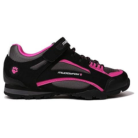 Muddyfox TOUR100 Tennis basses de cyclisme pour femmes - noir - Black/Char/Pink,