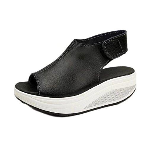 Transer® Damen Peep-Toe Sandalen/Mokassins Schwarz Beige Kunstleder+Kunststoff Slingback Plattform Sandalen Schwarz