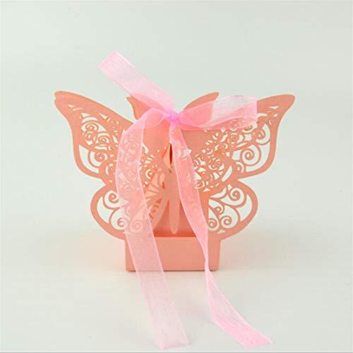 Kissherely 50 Stücke Hohle Schmetterling Papier Pralinenschachtel Hochzeitsgeschenk Tasche Schokolade Box für Gäste Party Supplies Geburtstag Dekoration (Rosa)