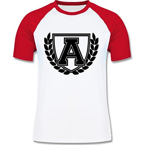 Anfangsbuchstaben - A Collegestyle - zweifarbiges Baseballshirt für Männer Weiß/Rot