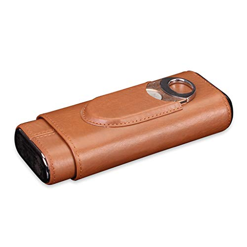 XYLLL Zigarrenschachtel, Hochwertiges Leder-Zedernholzfutter 3 Sticks Tragbare Zigarren-Humidor-Lederbox mit Zigarrenschere, Herren-Geschenkbox, Schwarz, Braun (Farbe : Brown) -