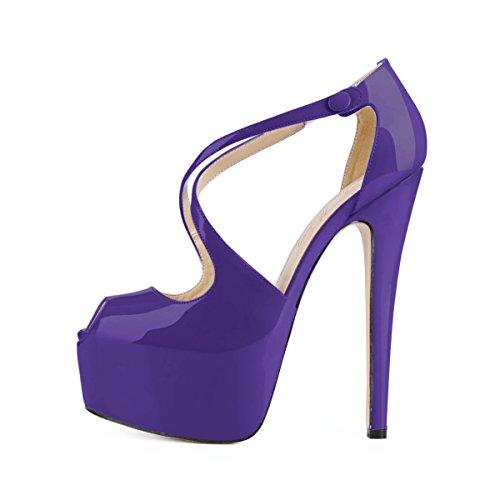 Damenschuhe Peep Toe Sandalen Criss Cross High Heels Stiletto Schnalle mit Plateau Lack Violett