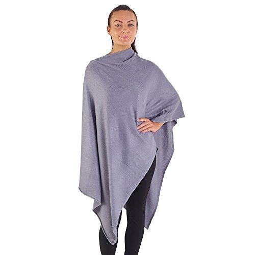 City Comfort® Soft Feel Ponchos für Frauen Ganzjährig Asymmetrischer Pullover Cape Blanket Schal Wickel Poncho - Cashmere Feel (Grautöne) -