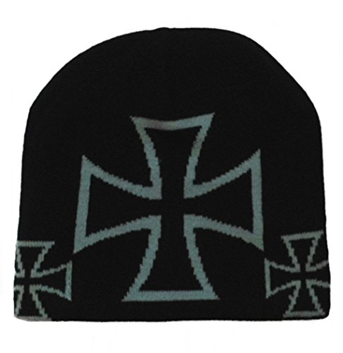 Iron Cross Hat (Black Out Iron Cross Eisernes Kreuz Beanie Mütze)