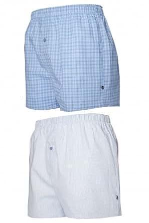 Mens 2 Pack Farah Boxers Blue Stripe X-Large