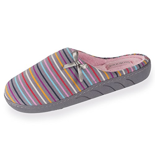 Isotoner Chaussons Mules Fille Rayures Multicolores