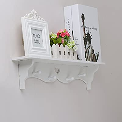 OGORI White Heart Shaped Floating Wall Display Shelf Bookshelf Storage With Coat Hook produced by OGORI - quick delivery from UK.