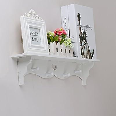 OGORI White Heart Shaped Floating Wall Display Shelf Bookshelf Storage With Coat Hook - low-cost UK light shop.