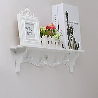 OGORI White Heart Shaped Floating Wall Display Shelf Bookshelf Storage With Coat Hook