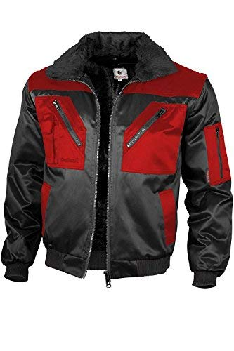 Qualitex - Pilotenjacke 4 in 1, Schwarz/Rot , XL