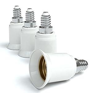 4x Lampensockel Adapter - Konverter für E14 Fassung auf E27 | Lampenadapter für LED-/Halogen- und Energiesparlampen | Sockeladapter von EAZY CASE, weiß